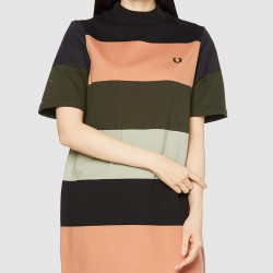 Fred Perry Striped Sweatshirt Dress