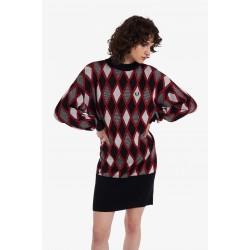 FRERD PERRY HARLEQUIN JACQUARD KNIT DRESS